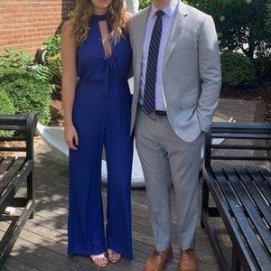 LUSH blue halter tie front jumpsuit